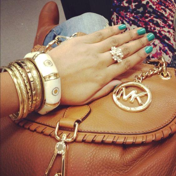 michael kors, bracelets, nails.. love it all!