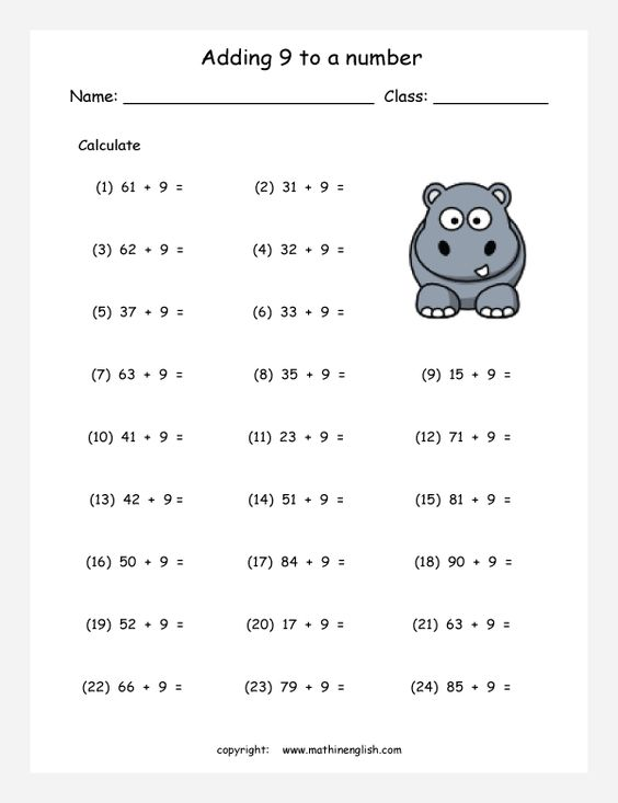 math worksheet : adding 9 to a number addition worksheet work on your addition  : Math Worksheets Works