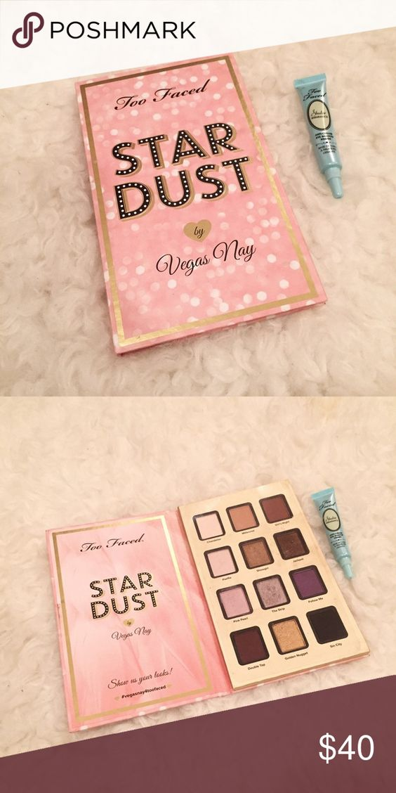 Too Faced Stardust by Vegas Nay palette Limited edition palette collaboration with Too Faced and Vegas Nay! Only swatched/unused and has protective film cover for the shadows! The colors in the palette are so pigmented and eclectic! Comes with the Too faced Shadow Insurance eye shadow primer :) Too Faced Makeup Eyeshadow