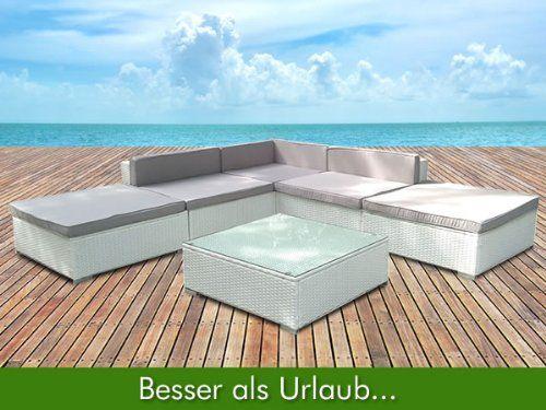 Gartenmöbel Rattan Lounge Weiß Polyrattan Sitzgruppe Rattanmöbel