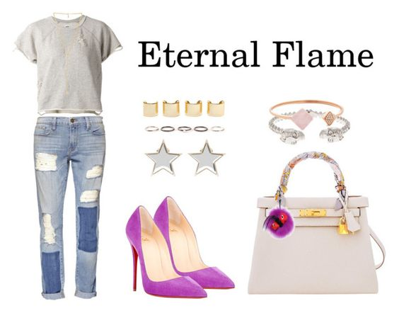 """""""Eternal Flame"""" by anaelle2 ❤ liked on Polyvore featuring Christian Louboutin, NSF, Frame Denim, Ettika, Hermès, Fendi, Givenchy, Alexander McQueen, Michael Kors and Henson"""