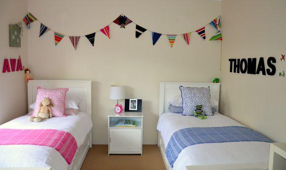 Boy and Girl Shared Bedroom  Emily Kate Interiors https://www.facebook.com/emilykateinteriors