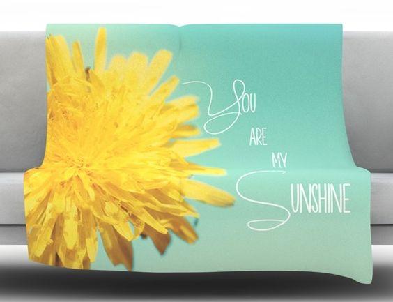 You Are My Sunshine by Beth Engel Fleece Throw Blanket