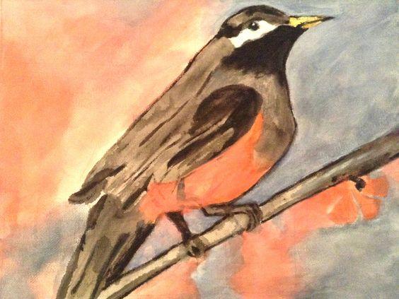 Peinture 'Comme un oiseau sur sa branche' : Peintures par orphemina