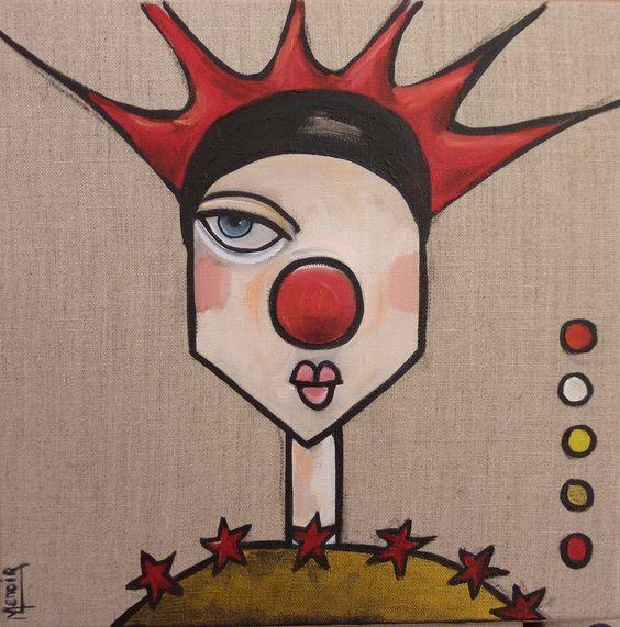le clown punk ou portrait du clown aux cheveux punky (30 x 30 cm) : Peintures par manuele-lenoir