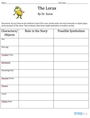 Printables Student Worksheet To Accompany The Lorax the lorax by dr seuss free student worksheet science literacy lesson