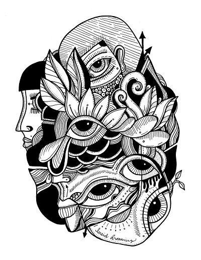 arte por Jody Pham | cool art illustration, dibujos abstractos en blanco y negro, ilustraciones femeninas | iconoCero