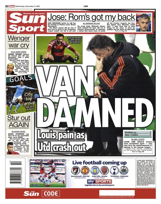 Wednesday's Sun back page: Van Damned #tomorrowspaperstoday #bbcpapers #MUFC https://t.co/xRSjORZ5mc