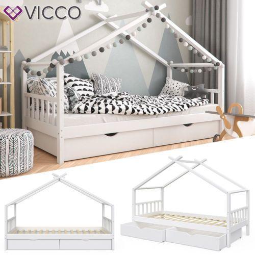 Vicco Kinderbett Hausbett Design 90x200cm Mit Schubladen Kinder Bett Holz Haus Vicco Kinderbett Haus In 2020 Kids Bed Design Bed Frame With Storage House Beds For Kids