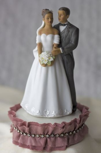 Antique Silk and Rhinestones African American Cake Topper (Mauve, Ivory, and Black)
