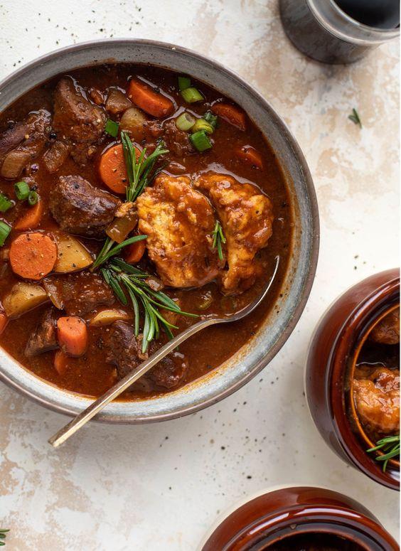 Irish Stout Beef Stew with Herbed Dumplings