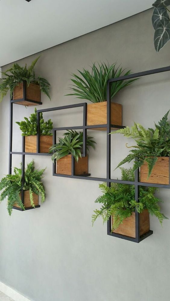 box-shaped planters connected with metal structure installed on the wall #gardenIdeas #garden #gardening #plants #homeDecor #indoor