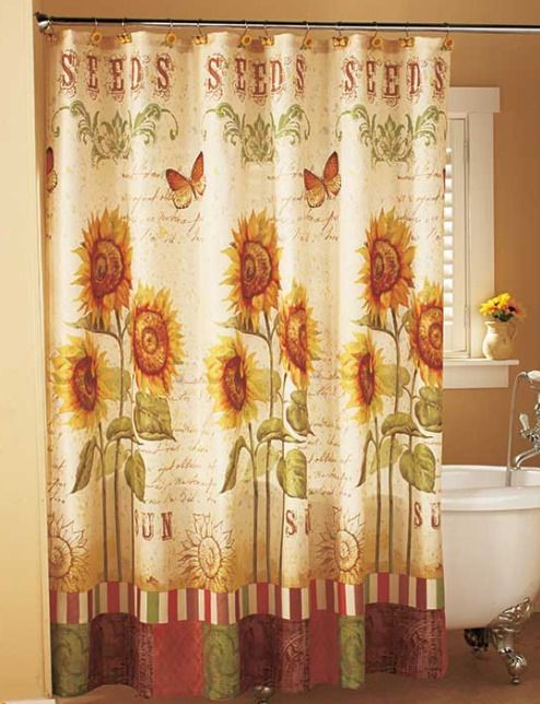Sunflower Bathroom Decor Shower Curtain Country Accessories Fabric