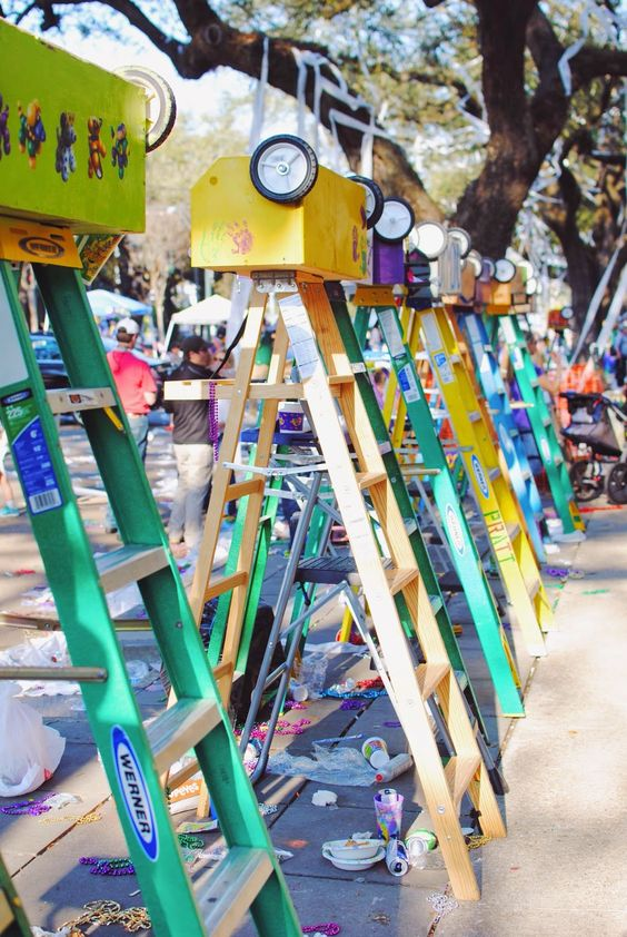 Mardi Gras ladders set up for a parade: