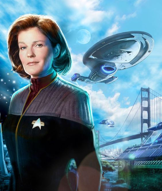 Star Trek Voyager - Homecoming Part 1 book cover of Captain Kathryn Janeway. Book cover art by Martin Frei, German Publisher Cross Cult.