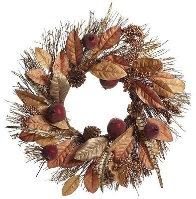 Faux Magnolia Leaf & Pomegranate Fall Wreath - contemporary - outdoor decor - Pier 1 Imports  All natural wreath