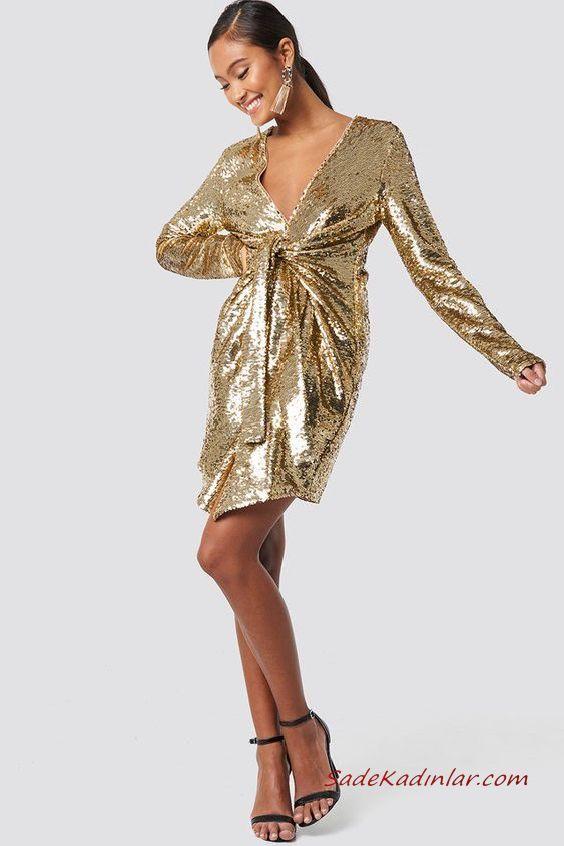 2019 Payetli Elbise Kombinleri Gold Kisa Uzun Kol V Yakali Kemerli Payetli Siyah Stiletto Ayakkabi Payet Elbise The Dress Elbise