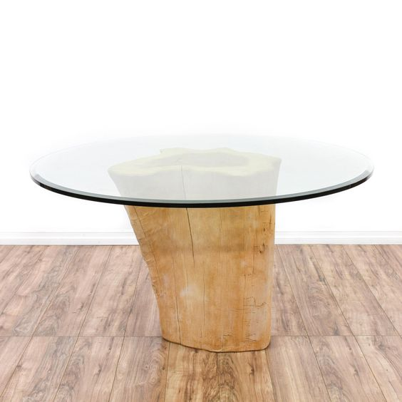 This Rustic Dining Table Features A Solid Wood Stump With A Raw