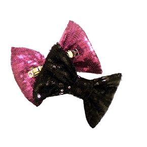 MARIALIA- Sequin Sparkle Bow Clip Duo Set