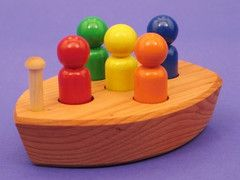Finally a non-toxic bath toy. Wooden boat can be painted (with non toxic paint) or unpainted (some prefer that to ensure no toxins). If you decide on unpainted do not let it soak in water for hours. Let it air dry after bath.
