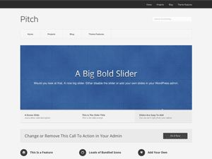 Pitch is a simple, minimal business and portfolio theme. It uses custom post types to make it easy to add your content. Pitch also features a big bold slider to put your work front and center.