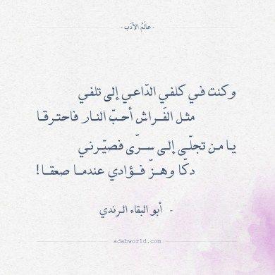 شعر أبو البقاء الرندي مثل الفراش أحب النار فاحترقا عالم الأدب Calligraphy Quotes Love Romantic Words Words Quotes