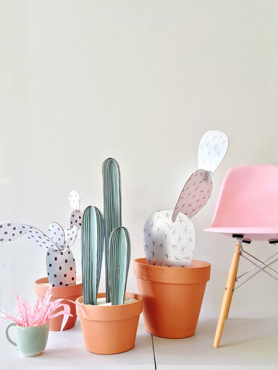 DIY cardboard cacti