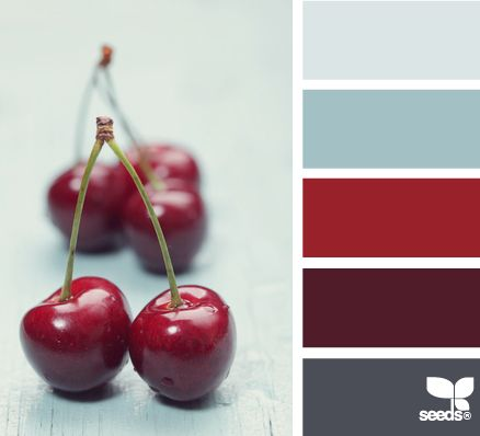 Cherry reds and cool greys - another pleasing colour palette Wardrobe Architect Words: 'Confident' 'Empowered'