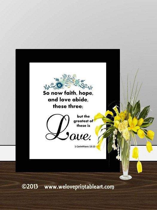 Scripture Printable Bible verse Wedding by WeLovePrintableArt, $5.00 ... Scripture Printable, Bible verse Wedding anniversary love print wall art decor poster, Love Quote Valentine's Day 1 Corinthians 16