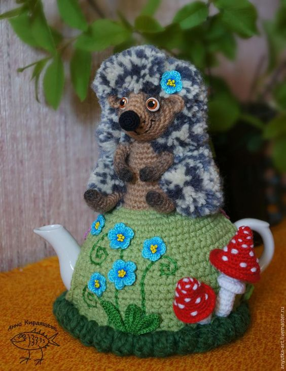 "Knit a heating pad on the kettle ""Hedgehog"" - Fair Masters - handmade, handmade:"