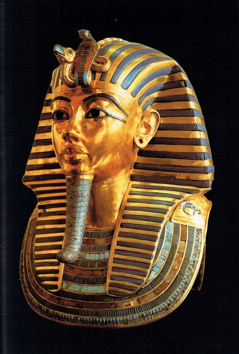 The famous funeral mask of Tutankhamon, in gold and semi-precious stones, reproduces almost exactly the delicate features of the pharaoh. This was placed over the king's head and shoulders.: