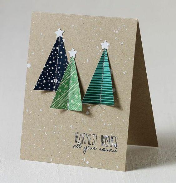 Schöne Weihnachtskarten selber basteln christbaum design