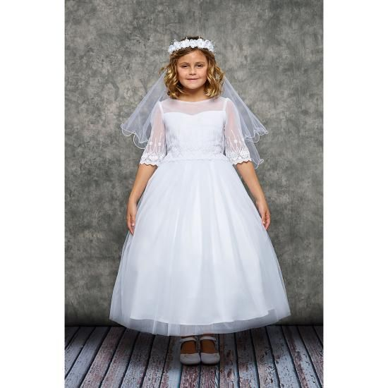 Robe Communion Fille Mousseline Brodée manches