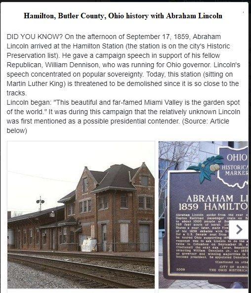 Abraham Lincoln In Hamilton Butler County Ohio In 1859 Ohio History Butler County The Buckeye State