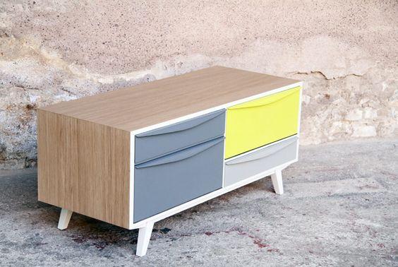 Petit meuble tv d entr e d appoint vintage relook e for Petit meuble d appoint ikea