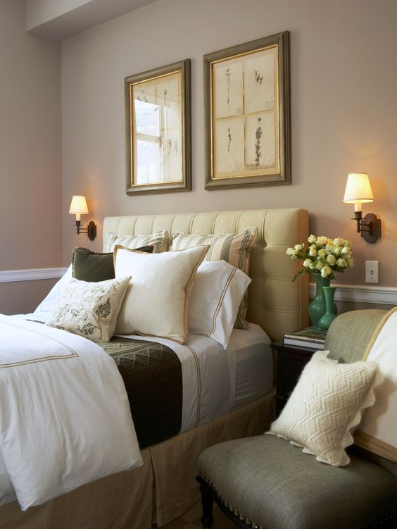 Traditional Guest Bedroom with Lights Tans, Light Greens, & Light Yellows (Scott Sanders)