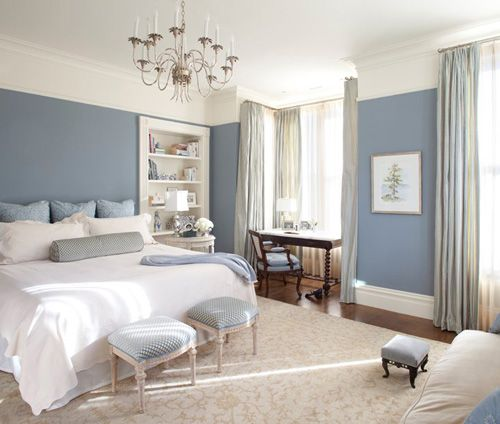 Blue and White Bedroom. Like the wall color for our bedroom.