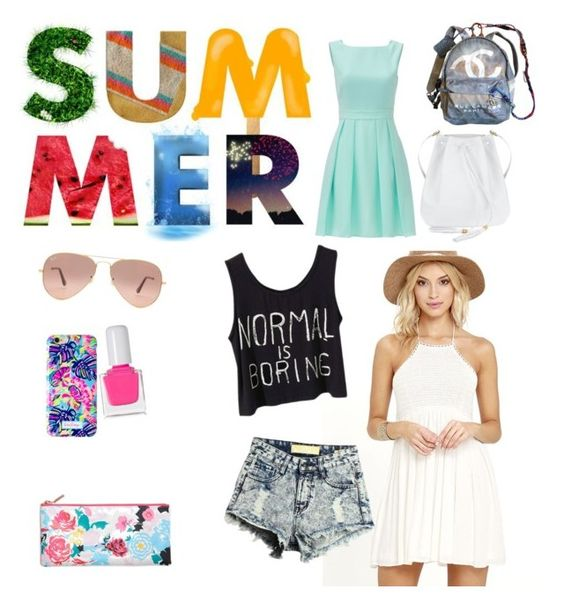 """""""Summer"""" by hanicka-samcikova on Polyvore featuring Kate Spade, Breckelle's, Chanel, Ray-Ban, Lilly Pulitzer and tenoverten"""
