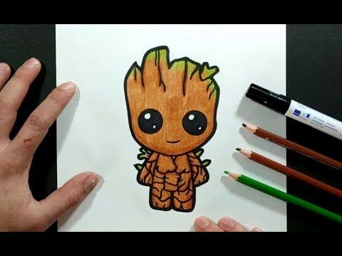How To Draw Baby Groot From Guardians Of The Galaxy Easy With This How To Video And Step By Step Draw In 2021 Baby Groot Drawing Disney Character Drawings Baby Drawing