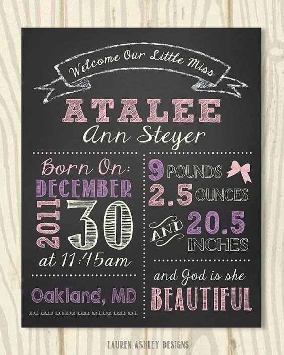 Birth Announcement Chalkboard Sign – Chalkboard Birth Announcement