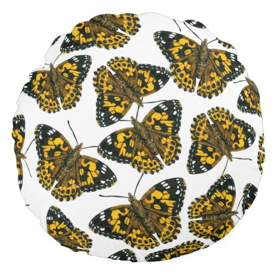 Painted lady butterfly pattern round pillow
