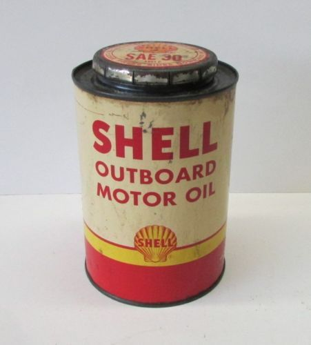 Vintage Shell Outboard Motor Oil Gas Metal Tin Can