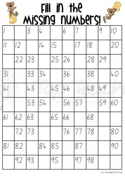 Fill in the missing numbers grids to 100 - 20 different sheets ...
