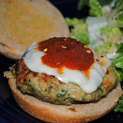 Chicken Parmesan Burgers (seasoned ground chicken patty topped with mozz and marinara sauce)