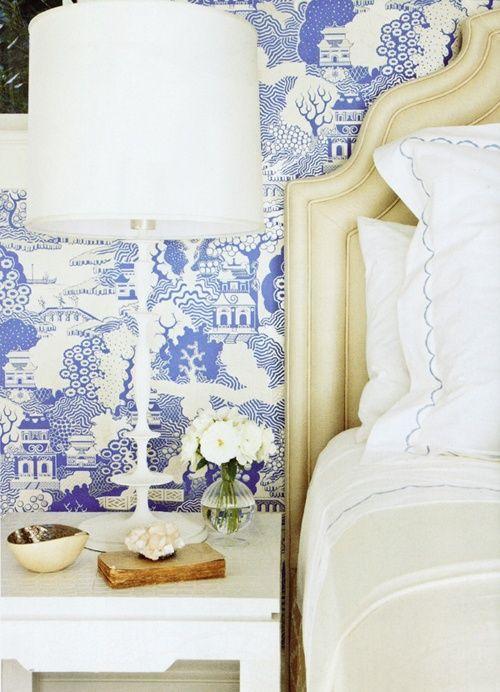 blue + white + ivory bedroom