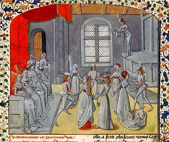 Rondedans aan het hof van koning Diodicias van Syrië tijdens het verlovingsfeest van zijn 33 dochters. Miniatuur in Jean de Wavrin, Chroniques d'Angleterre, ca. 1470. Parijs, Bibliothèque nationale de France, Ms. fr. 2807, fol. 13