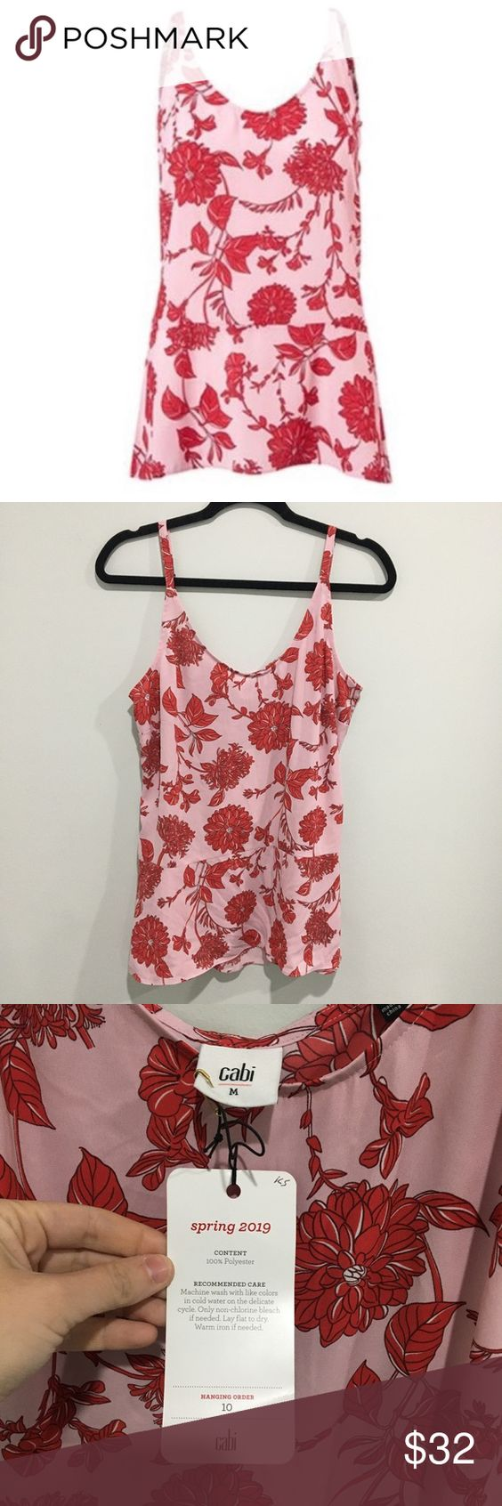 Nwt Cabi Cranberry Crush Adore Cami Spring 2019 In 2020 Floral Tops Cabi Cami Tops