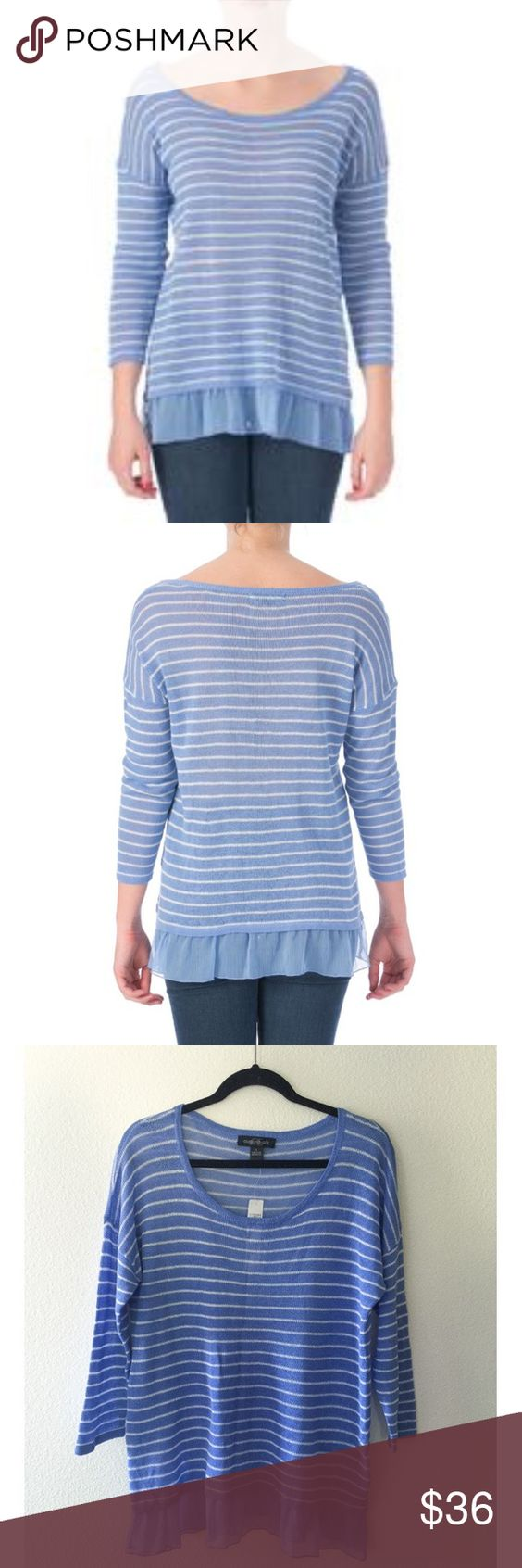 Crewneck Striped (White & Blue) Sweater sz L NWT Crewneck Striped (White & Blue) Sweater sz L NWT 💙 It's new with tags, never been worn.                 🚫NO TRADES 🚫NO PAYPAL august silk Sweaters