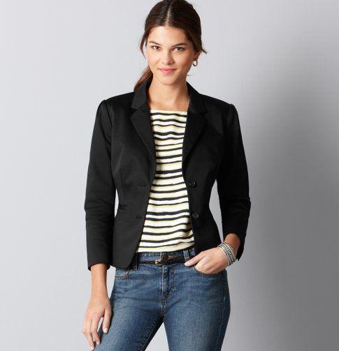 Petite Cotton Sateen 3/4 Sleeve Suit Jacket | Coats Loft and Sleeve