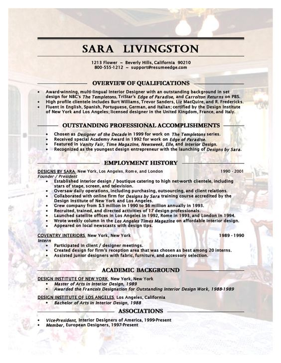 Interior Design Resume Objective INTERIOR EXTERIOR DESIGN - assistant designer resume